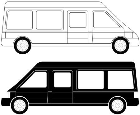 motor de carro: juego de dos siluetas mini bus