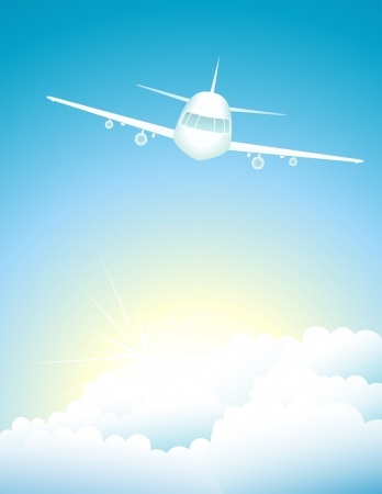 turbulence: air background with modern plane in sky with sun Illustration