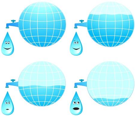 spring balance: set planet and cartoon face drop different emotion Illustration