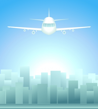 background with sunrise in city and plane in sky Stock Vector - 15607726