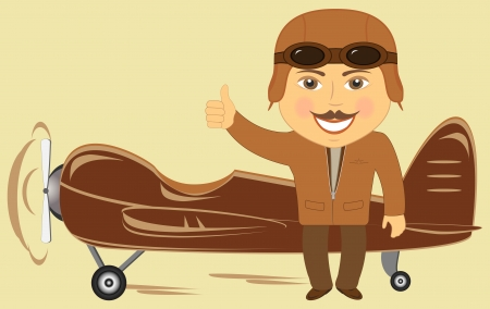 cartoon plane with pilot showing thumb up and smile Vector