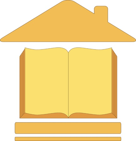 icon with house book - symbol education Vector