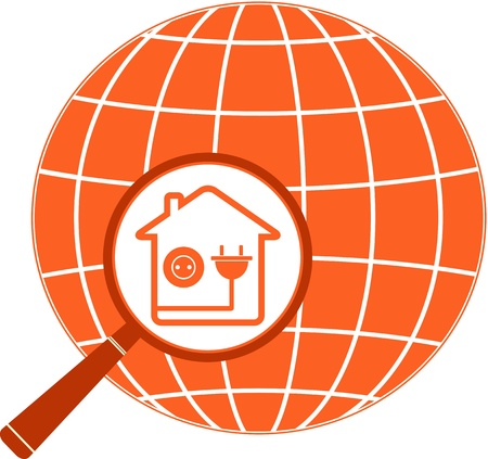 conduct: isolated symbol electric in house with planet and magnifier