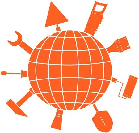 logotipo de construccion: signo reparación rojo con las herramientas y la silueta planeta Vectores