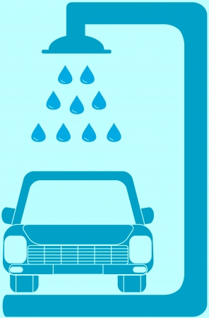 isolated blue sign with car wash silhouette Vector
