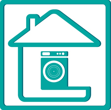 icon with washing machine and house silhouette Vector