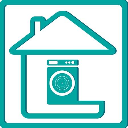 electrical appliance: icono con lavadora y la silueta de la casa