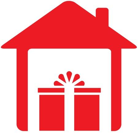 holiday home: cartel rojo con la casa y regalos navide�os Vectores