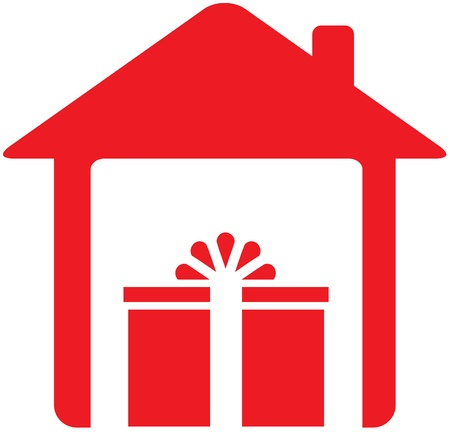 house logo: red sign with house and holiday gift Illustration