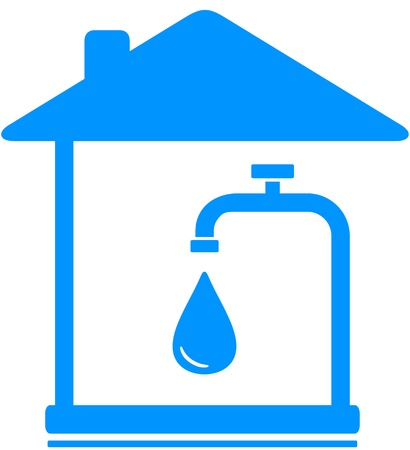 sign with drop of water and faucet in house Stock Vector - 15824740