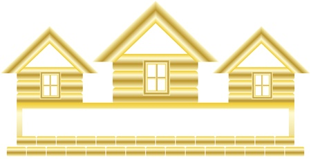 symbol with gold cottage and space for text Stock Vector - 15824748