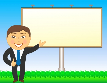 bill board: cartoon businessman showing on billboard and grass