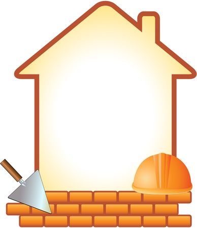 craftsmen: icon with helmet, trowel, bricks and house with space for text