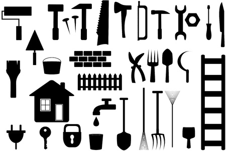 garden key: set black isolated tools to work at home, repair or garden   Illustration