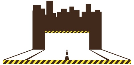 brown construction symbol with road, urban landscape and place for text Stock Vector - 16111345