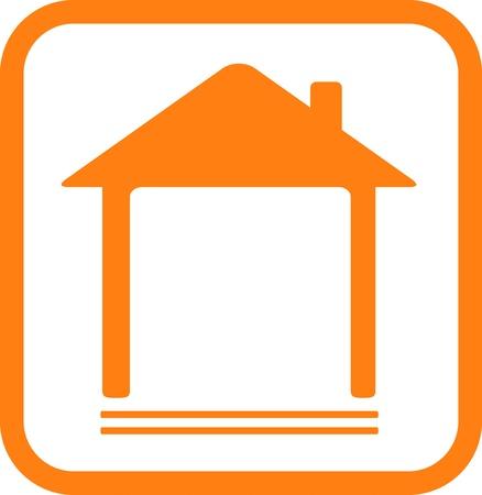 icono rojo con la silueta del hogar y el lugar de texto