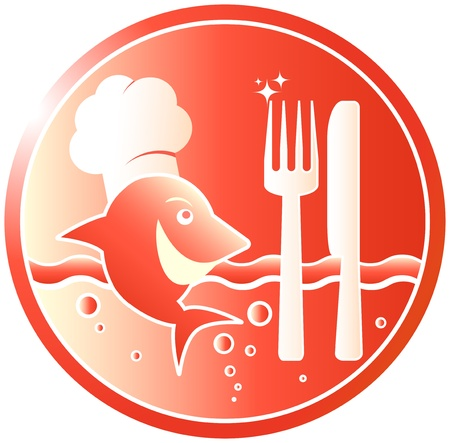 sushi plate: red sign with fishplate - symbol fish restaurant