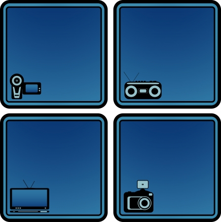 set blue icon with voice recorder, tv, photo and video camera with place for text   Stock Vector - 16111380