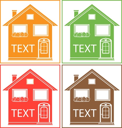 set colorful home with place for text and flower pot   Stock Vector - 16111406
