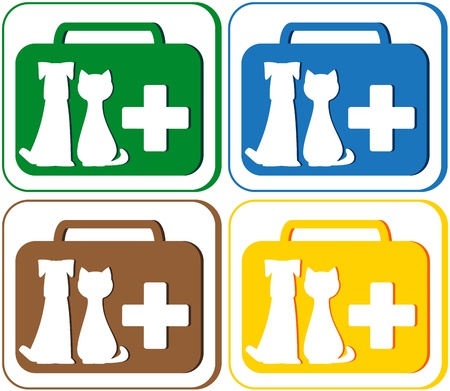 vet: colorful green, blue, red and yellow set with veterinary symbol - portfolio and pet dog with cat