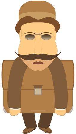 avid: retro grasping mustache man with portfolio