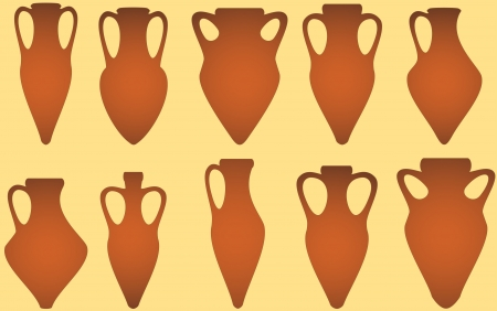 set isolated yellow antique amphora on white background   Vector