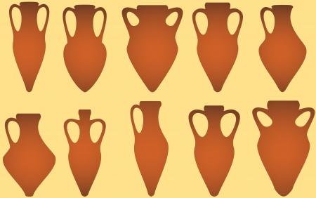 greek pottery: set isolated yellow antique amphora on white background