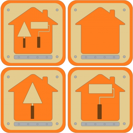set icon with repair tools with house silhouette Stock Vector - 16218147