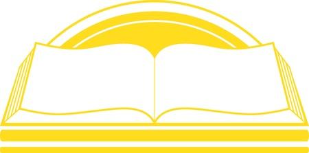 peri�dico: icon isolado amarelo com o livro eo nascer do sol