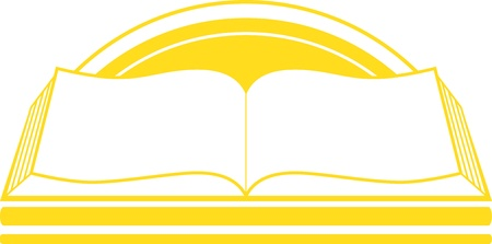 yellow isolated icon with book and sunrise