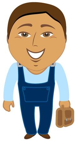 arquitecto caricatura: dibujos animados asiático trabajador con la cartera