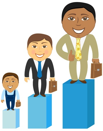 cartoon asian, caucasian and afro american mens at different stages of career development   Иллюстрация