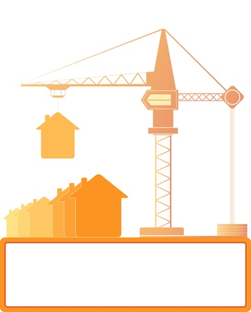 red symbol construction crane with houses and place for text Stock Vector - 16218142