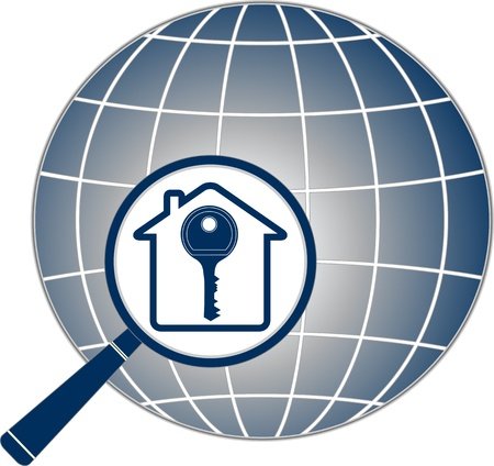 access control: icon with magnifier, key, house and planet silhouette