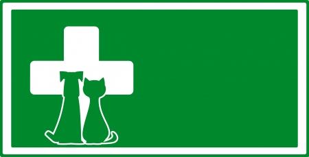 veterinarian symbol: green veterinary visiting background with dog and cat