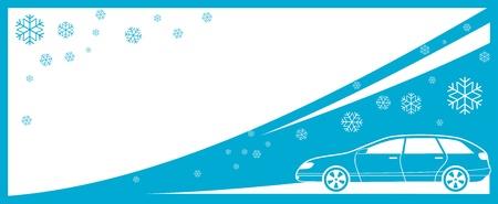 winter achtergrond met auto en sneeuwvlok en plaats voor tekst