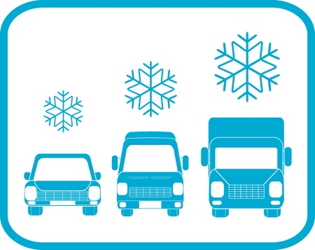 snow tires: icon with transport silhouette - symbol winter road   Illustration
