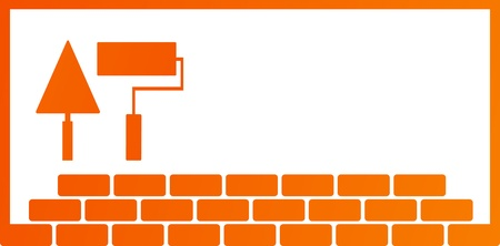 brick work: construction background with repair tools - trowel and roller, and place for text   Illustration
