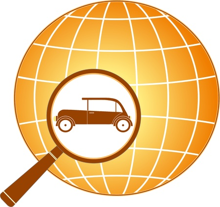 planet car: icon with planet, magnifier and retro car silhouette