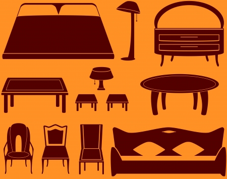 set isolated object - furniture for a room and kitchen   Vector