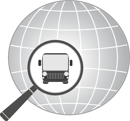 magnifier with bus and planet - travel symbol   Vector