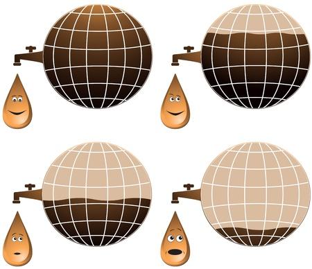 set planet and cartoon petroleum drop different emotion   Illustration