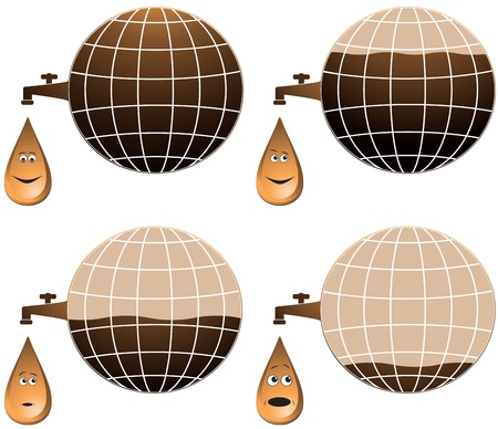havoc: set planet and cartoon petroleum drop different emotion   Illustration