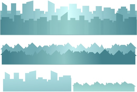 set background with skyscraper and cottage silhouette   Stock Vector - 16458621