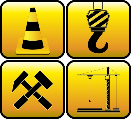 set yellow sign - symbol construction   Vector