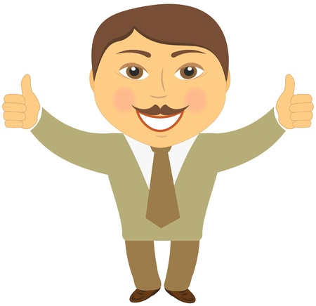 www arm: happy cartoon mustache businessman showing two thumb up