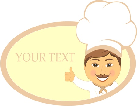 restaurant sign with smile cook showing thumb up and place for text   Vector