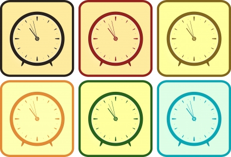set isolated colorful clock in frame Stock Vector - 16802834