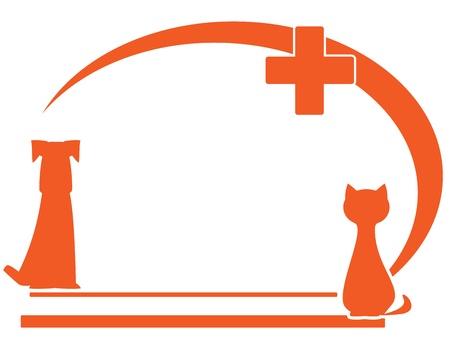 s�mbolo veterinario con lugar para el texto y la silueta del animal dom�stico