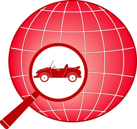 retro cabriolet in magnifier on planet silhouette   Vector
